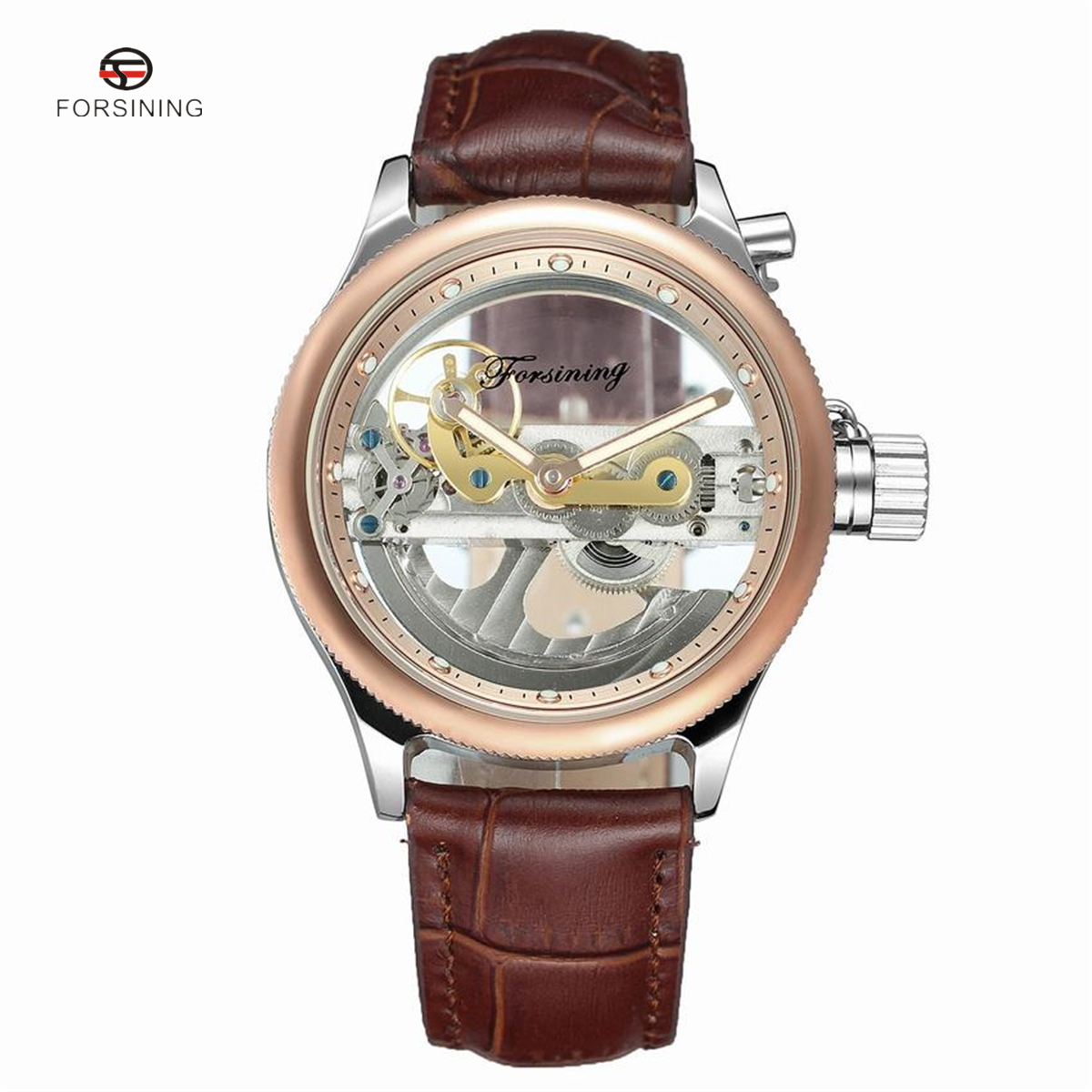 FORSINING Rose Gold Hollow Automatic Mechanical Watches Men Luxury Leather Strap Casual Vintage Skeleton Watch Clock new fashion luxury brand forsining rose gold men watch automatic mechanical watches hollow men tourbillon mechanical watch gift