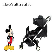 2018 HaoYuKnight Minnie Mickey Carrinho De Bebe Lett barnevogn, raskt sammenleggbar barnevogn Aluminiumslegering Barnevogn