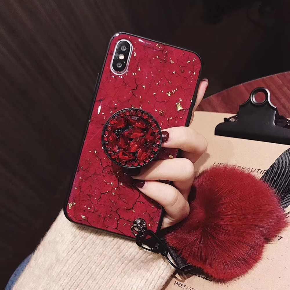 サムスン Not10Plus S10P TPU Coque iphone 11 プロマックス 6 6 s-plus 8 プラス 7 プラス DIY クリスタルホルダー + 毛皮ボール + ストラップ電話ケース