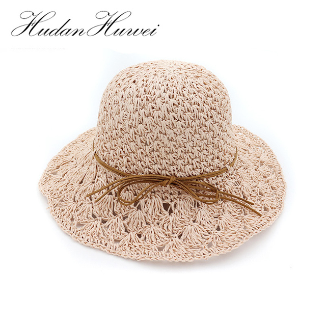 Summer Handmade Straw Crochet Hat Women Wide Brim Sun Hats Floppy Hollow  Breathable Ladies Beach Hat Folding GH-500 d50758f75