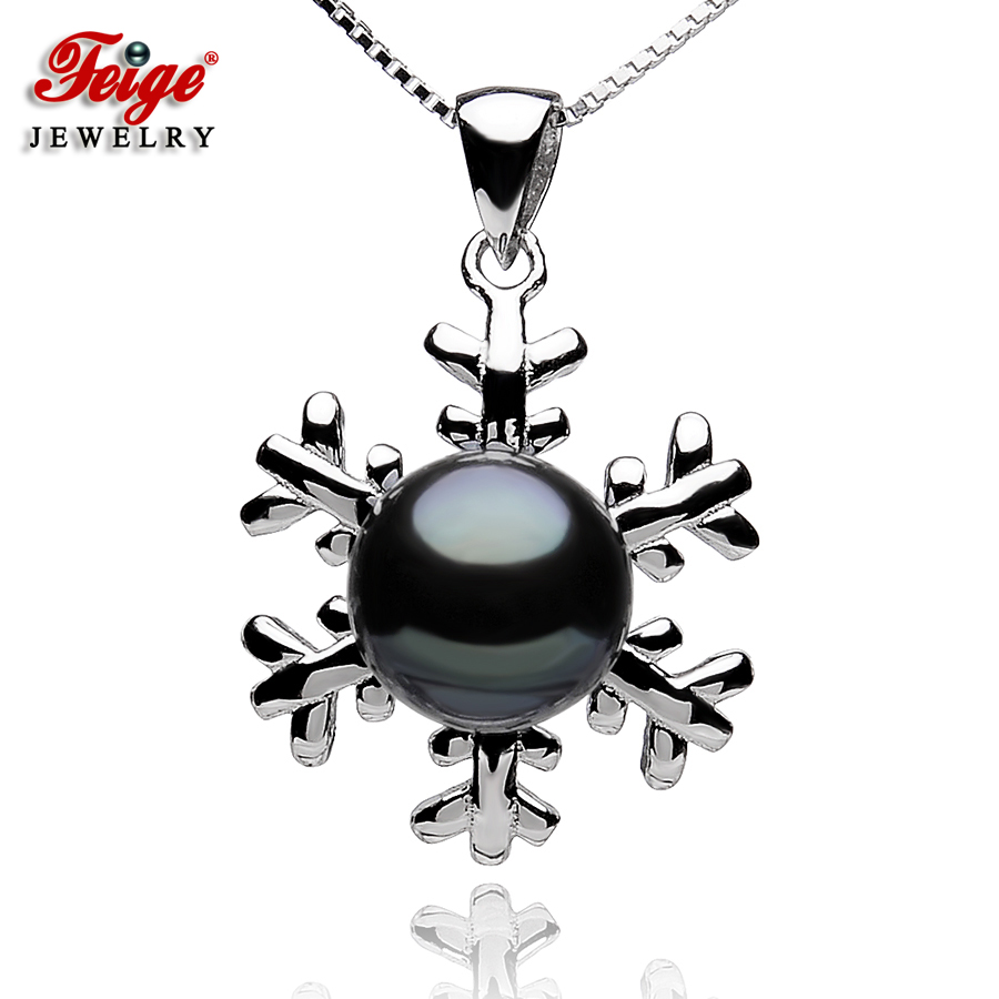 Snowflake-shaped Pearl Pendants For Womens,8-9mm Black Freshwater Pearls, 925 Sterling Silver Chain,Pearl Jewelry By FEIGE