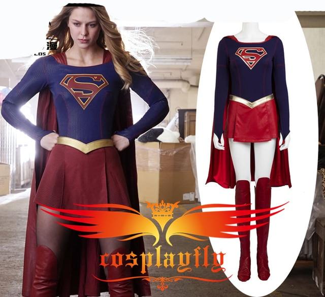 US $130 99 |TV Supergirl Kara Danvers Suit Super Girl Zor El Dress  Battleframe Cosplay Costume For Adult For Halloween Christmas+ Red Cape-in  Movie &