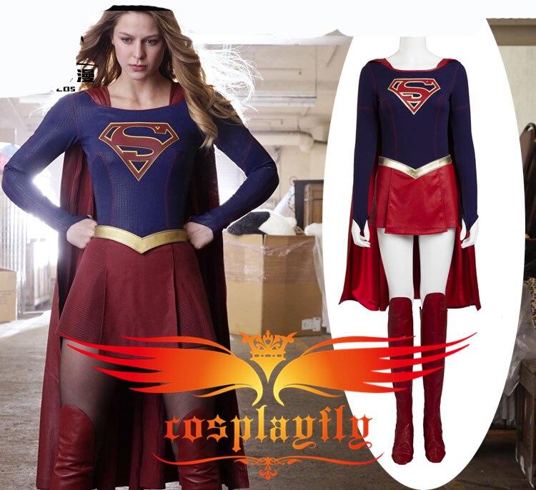 TV Supergirl Kara Danvers Suit Super Girl Zor El Dress Battleframe Cosplay Costume For Adult For Halloween Christmas+ Red Cape
