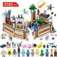 Шт. 4385 шт. мой мир строительные блоки комплект Совместимость LegoINGLYS Minecraft большой волшебный замок техника Модель Кирпичи Детские игрушки