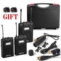 By wm8 UHF Dual Беспроводной петличный микрофон systerm lav интервью mic 2 Передатчики 1 приемник для видео DSLR Камера