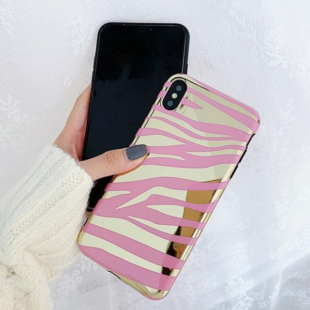 Mode Brillant Zèbre rayures coque de téléphone Pour iphone XS Max XR XS souple TPU étui pour iphone 6 6 s 7 8 plus silicone étui à miroir