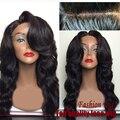 Barato brasileira 7A cabelo sintético calor-fibra resistente perucas para preto mulheres franja lateral onda profunda com o cabelo do bebê cabeça cheia perucas