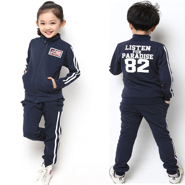 a93495295 Teenage Sport Clothing Big Boys Girls Tracksuit Striped Jacket and Pants  Sample Design Children Running Wear for 5-15Y
