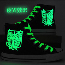 2018 Attack On Titan cosplay Hand-painted Luminous shoes Unisex Shingeki No Kyojin High Platform Canvas Board Shoes A51007