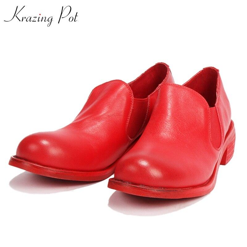 Krazing pot new full grain leather med heels office lady slip on mature women career round