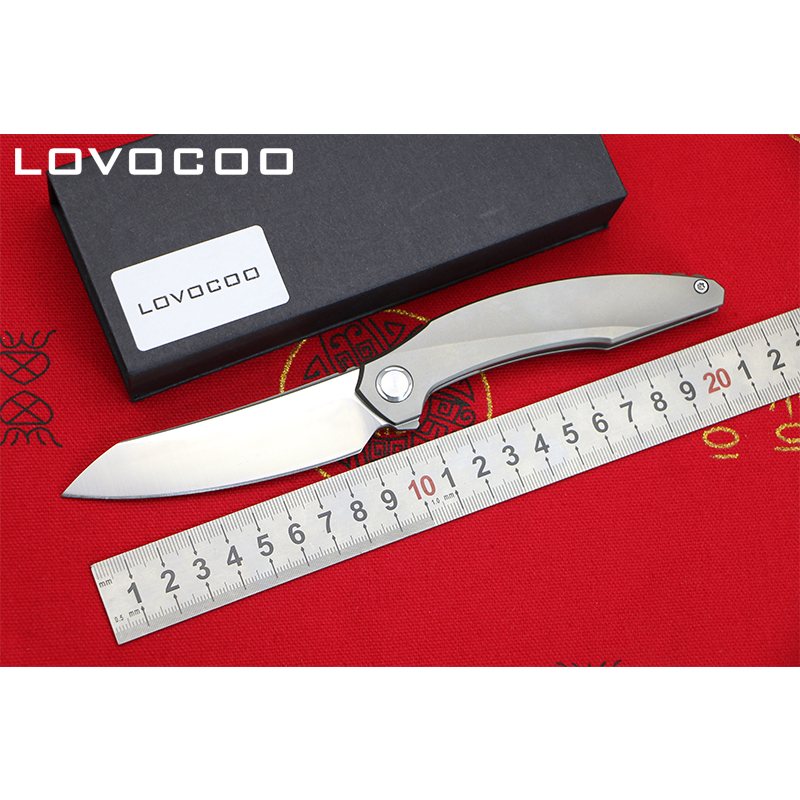 LOCOVOO ST-38 NEW D2 blade Titanium handle Flipper folding knife Outdoor camping hunting pocket fruit knives Survival EDC tools voltron f95 flipper folding knife bearing d2 blade g10 steel handle outdoor camping hunting pocket fruit knife edc tools