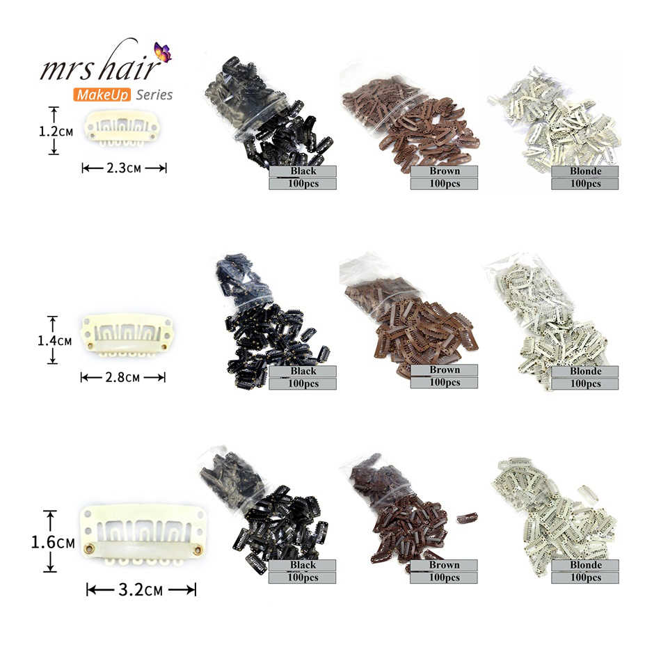 Wig Snap Clips 100pcs Hair Extensions Hairpins Clip Black Brown Blonde Clips For Weft Weaving 2.3cm 2.8cm 3.2cm DIY Clips Tools