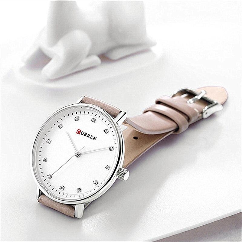 Simple Fashion Diamond Quartz Watches Womens Elegant Ladies Wrist Watch Female Clock CURREN Leather Watch For Women Reloj Mujer