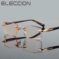 ELECCION 높은 품질 리더 안경 패션 스타일 무테 독서 안경 남성 여성 돋보기 안경 투명 유리