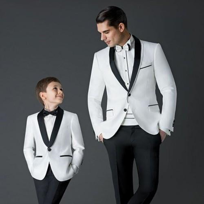 2019 New Boys Suits For Weddings Children Suit New Black/White Kid Wedding Prom Suits Blazers For Boys Tuxedo(Jacket+Pants+Tie )