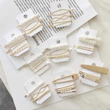 New 1Set Women Girls Cute Pearl Geometric Gold Color Hair Clips Barrettes Lovely Hairpin Headband Fashion Accessories A2719