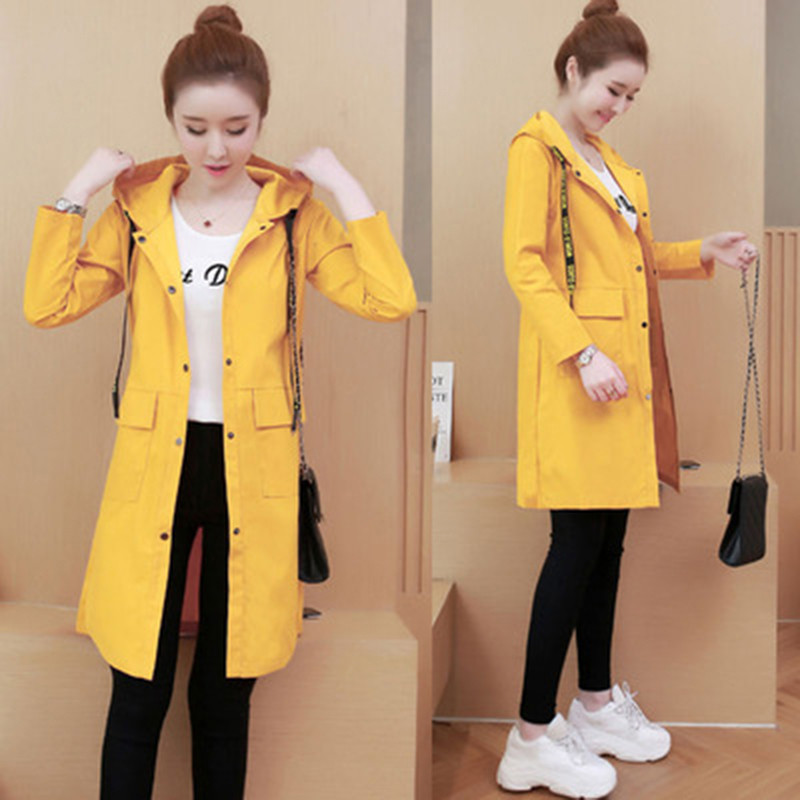 Spring Autumn Fashion Long Trench Coat Women Hooded Single-breasted Thin Windbreaker 2019 Female Korean Casual Elegant Overcoat 27