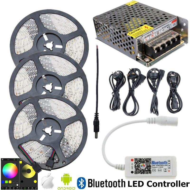 15 м 10 м 5 м Водонепроницаемый Светодиодные ленты SMD 2835 RGB полосы Освещение с RGB контроллер <font><b>Bluetooth</b></font> DC 12 В <font><b>LED</b></font> Импульсные блоки питания
