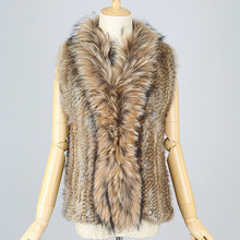 QC2302 high quality natural rabbit fur knitted and raccoon dog fur trimming collar vest