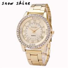 snowshine 10  Women s Men s Crystal Rhinestone Stainless Steel Analog Quartz Wrist Watch
