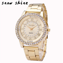 snowshine #10     Women's Men's Crystal Rhinestone Stainless Steel Analog Quartz Wrist Watch  free shipping