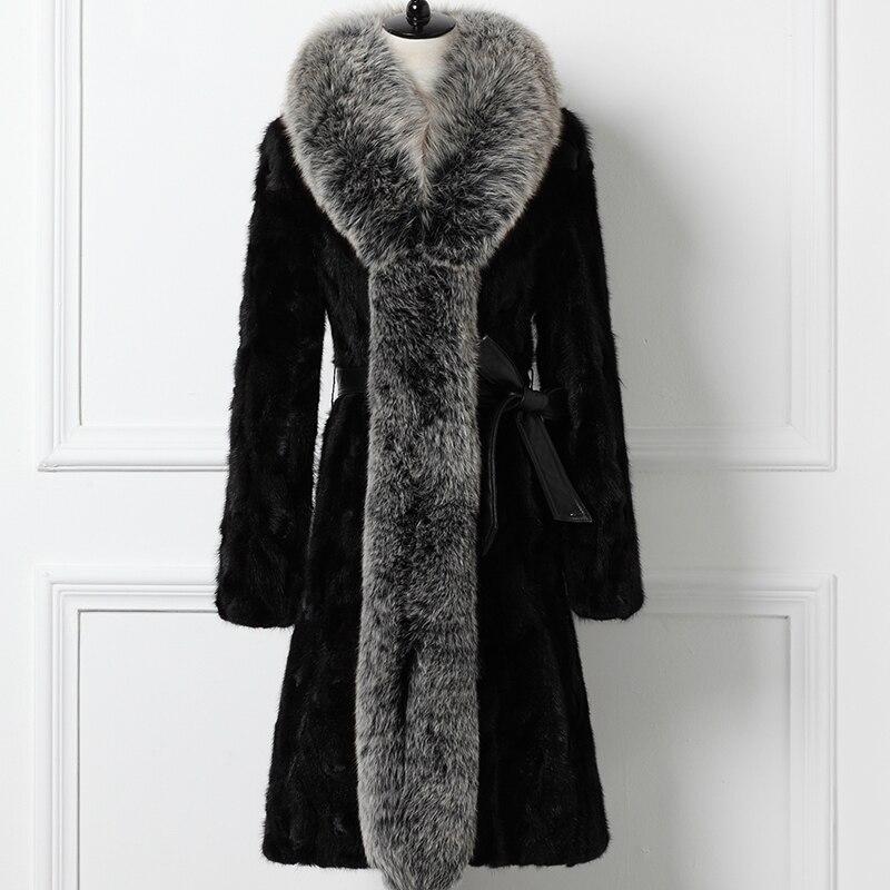 Wyq1592 Naturelle Luxe 2018 Longue Grand Fourrure Manteau Manteaux D'hiver Des Femmes Femme Renard De Veste Ayunsue Noir Vison Col gqxEvXwTnH