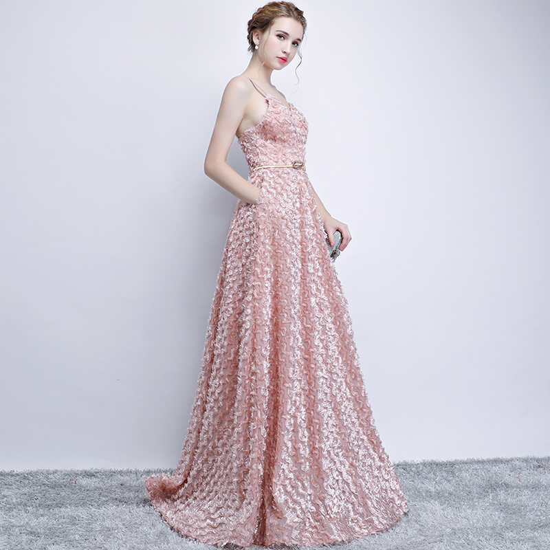 Pink Lace Sleeveless Spaghetti Straps Long Bridesmaid Dress 3