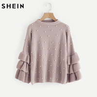 SHEIN Pearl Beaded Layered Ruffle Sleeve Loose Jumper Pink Crew Neck Long Sleeve Cute Women Sweaters