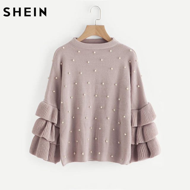 dec848b0b07c SHEIN Pearl Beaded Layered Ruffle Sleeve Loose Jumper Pink Crew Neck Long  Sleeve Cute Women Sweaters and Pullovers