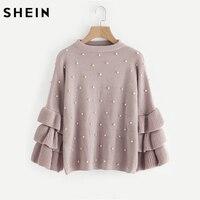 SHEIN Pearl Beaded Layered Ruffle Sleeve Loose Jumper Pink Crew Neck Long Sleeve Cute Women Sweaters