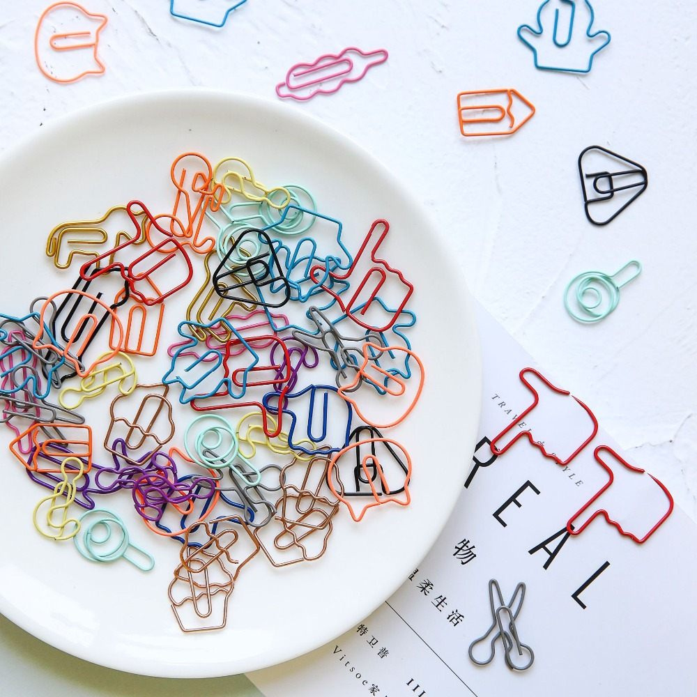 18Pcs Cute Decorative Bicycle Gestures Animal Shaped Paper Clips Scrapbook Memo Clip Metal Binder Paperclips Bookmark Stationery