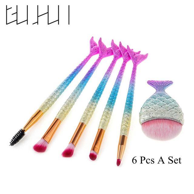 6 Pcs Professional Make up Mermaid Tail Makeup Brush Set Foundation Concealer Eyeshadow Contour Lip Cosmetic Brushes Set Makeup Brushes