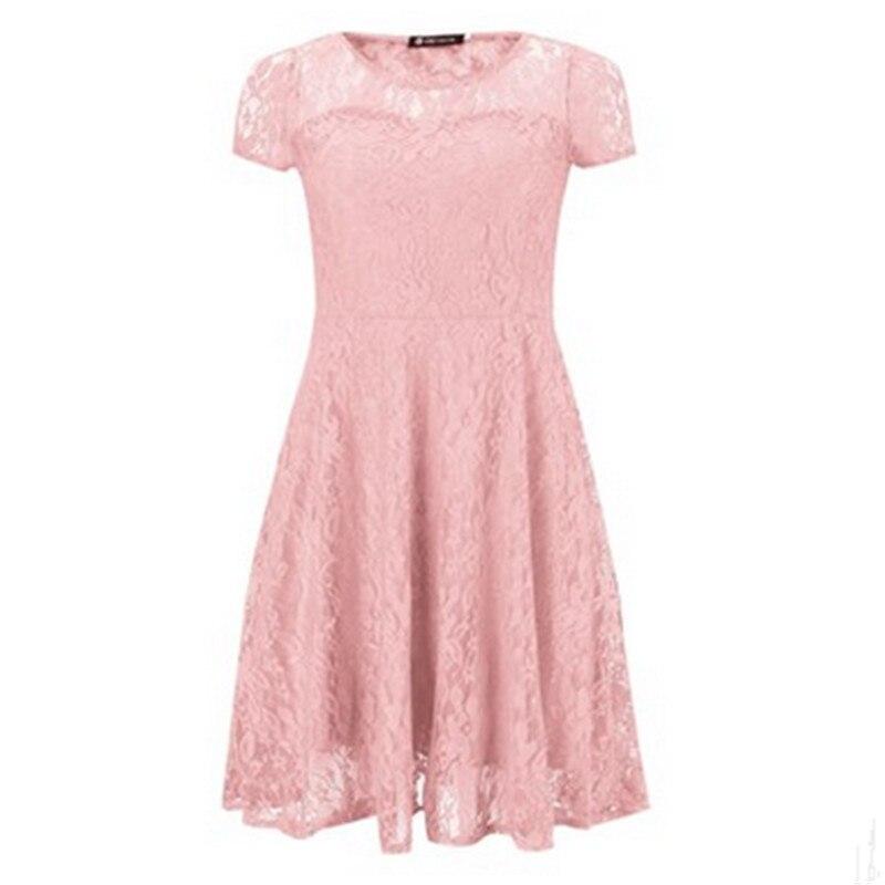 New Fashion Dreess Women Elegant Sweet Hallow Out Lace Dress Sexy Party Princess Slim Summer Dresses
