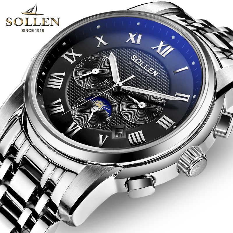 2017 Watches men Moon Phase Luxury Top brand Original SOLLEN Sapphire Waterproof Auto mechanical watch fashion wristwatch mens sollen mens watches top brand luxury moon phase automatic mechanical watch men casual fashion leather strap skeleton wristwatch