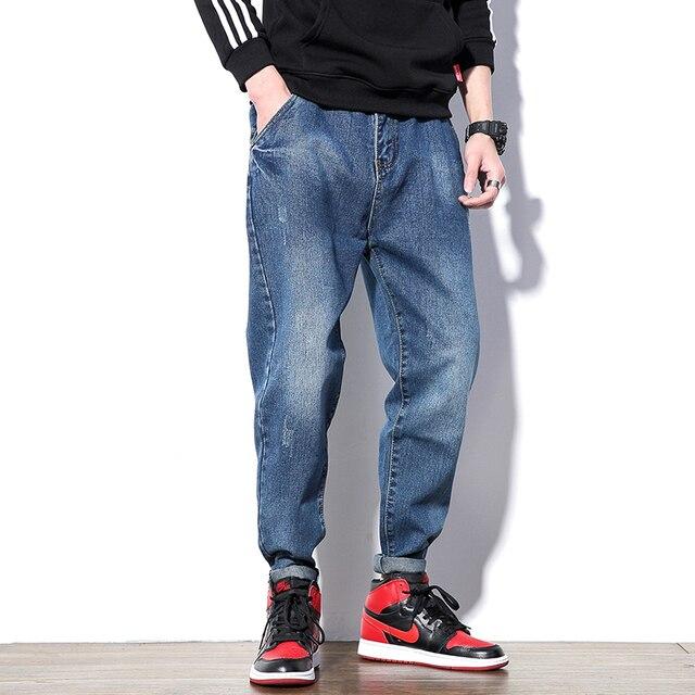 Hip Hop Pockets Overalls Denim Pants Harem Men's Big Size Loose Fit