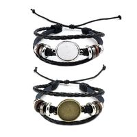 20MM Round Photo Glass Cabochon Bracelet Setting Base Bezel Tray Jewelry  Making DIY Accesspries W77