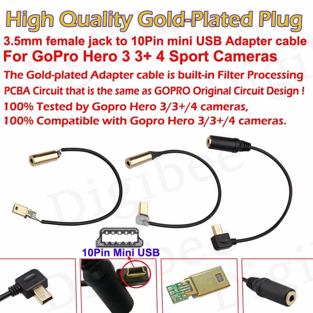 1Pcs Gold Plated 3.5mm Audio Female Jack to 10Pin Mini USB Adapter ...