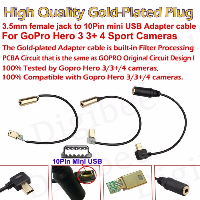 1pcs gold-plated 3 5mm audio female jack to 10pin mini usb adapter cable  for gopro hero 3 3+ 4 camera recording microphone cable
