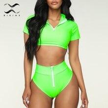 Bikinx Zipper soprts swimwear Push up black swimsuit female T-shirt high waist bathing suit women bathers Brazilian bikini 2019