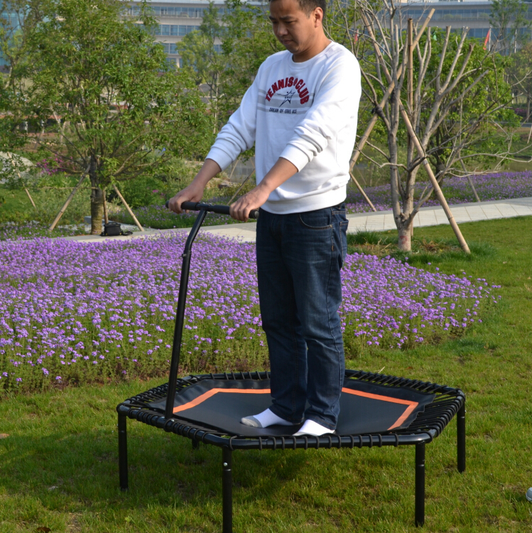 Hexagonal fitness bungee trampoline with handrail hexagonal jumping fitness trampoline with handrail