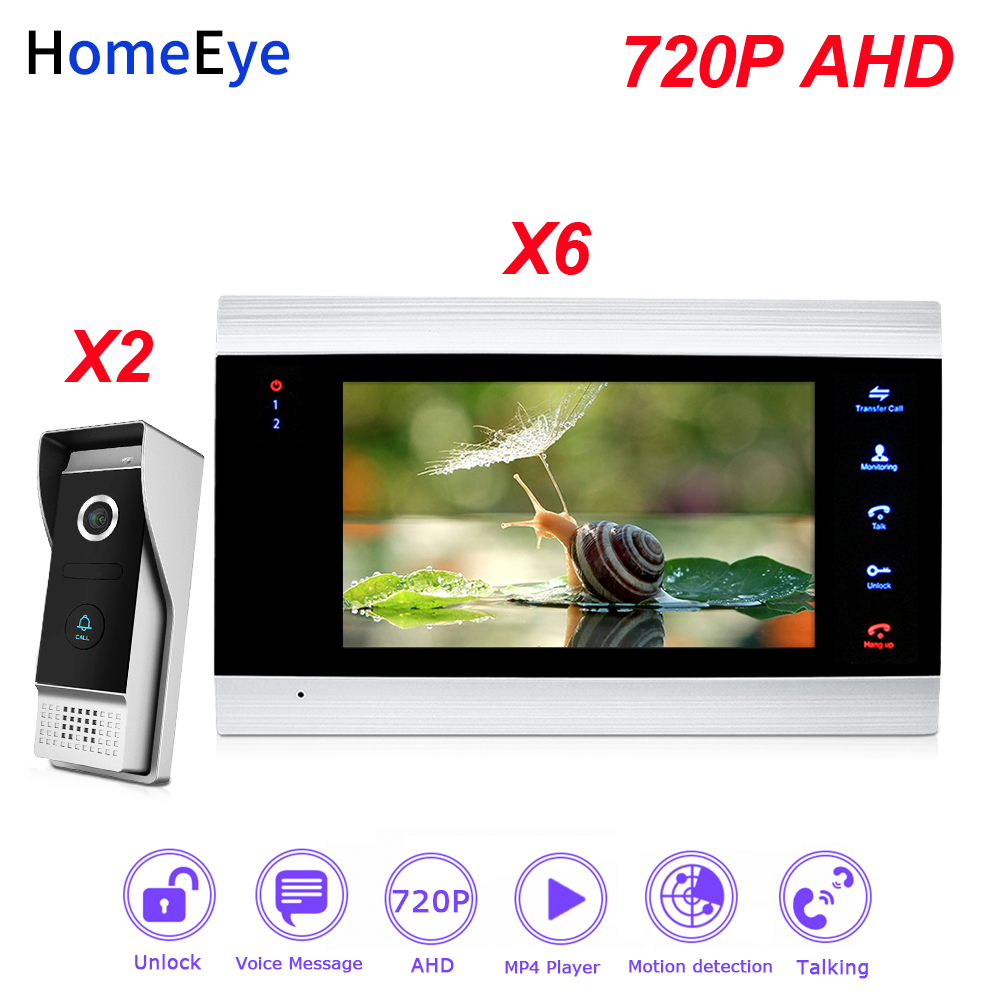 HomeEye 720P AHD Video Door Phone Video Intercom 2-6 Home Access Control System Wide View Angle Motion Detection Security Alarm