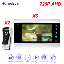 HomeEye 720P AHD Video Door Phone Intercom 2-6 Home Access Control System Wide View Angle Motion Detection Security Alarm