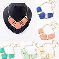 Nuevo Color del caramelo Collar colgantes collares moda declaración de Metal gargantilla Collar de Collar mujeres 2016 Vintage accesorios de la joyería