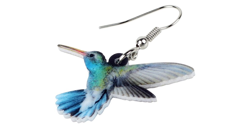Bonsny Acrylic Flying Voilet Sabrewing Hummingbird Bird Earrings Big Long Dangle Drop Fashion Animal Jewelry For Women Girls Kid 1