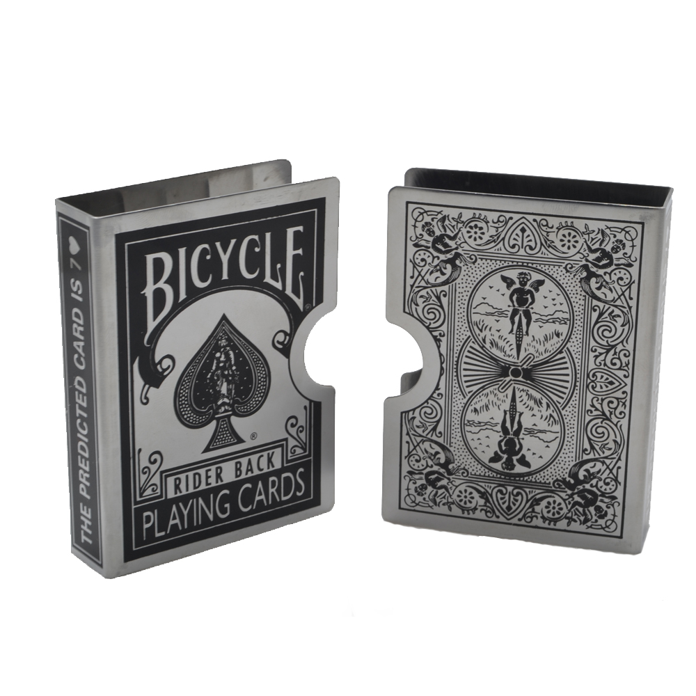 1pcs Stainless Steel Bicycle Card Clip Playing Card Holder Magic Tricks Magic Props for Protect Poker обучение фокусам card magic