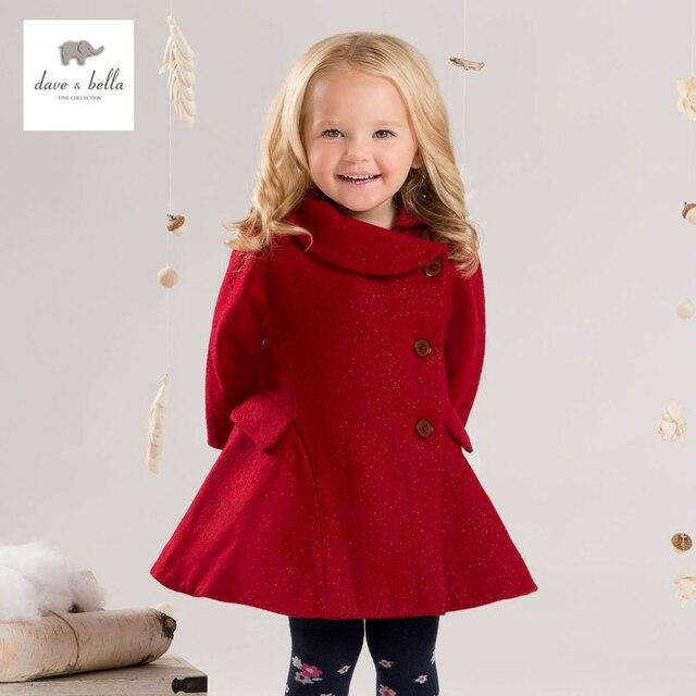 DB4038 dave bella  baby girls red wool blends Aline outerwear