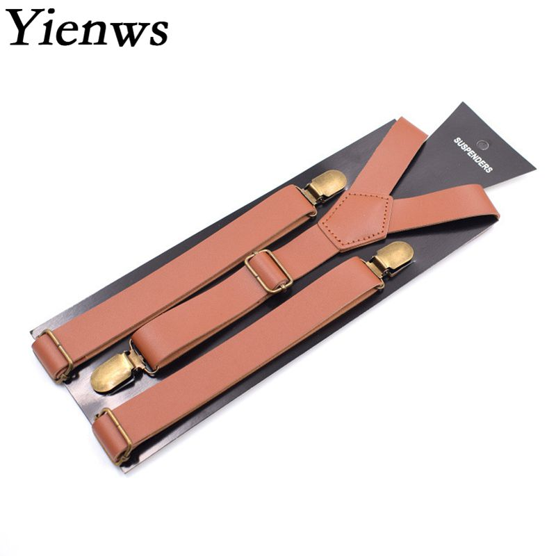 Yienws PU Leather Suspenders For Men Women Vintage Trousers Brace Strap Ladies Femme Black Brown Coffee Bretels YiA041