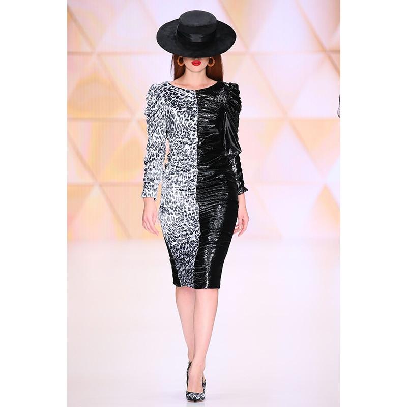 DEIVE TEGER 2019 nouvelles femmes robe léopard Patchwork drapé piste robe de soirée Sexy à manches longues Club robes Vestidos BY892