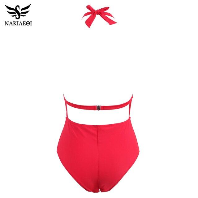 NAKIAEOI 2018 Sexy One Piece Swimsuit Women Swimwear Deep V Neck Ruffled Trikini Backless Swim Halter Bathing Suit Monokini S~XL 4