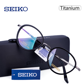SEIKO Eyeglasses Frame Women Brand Titanium + Acetate Round Eyewear for Myopia Progressive Men Multifocal Eye Glasses HC3015